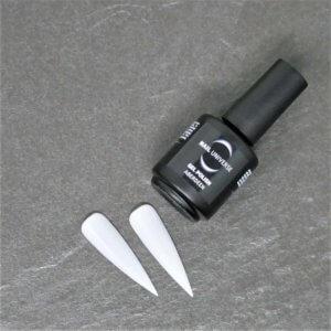Gel Polish Aberdeen. Eine schwarze Flasche liegt seitlich mit der Aufschrift Nail Universe Gel Polish. Im Vordergrund liegen zwei lackierte Nageltips.