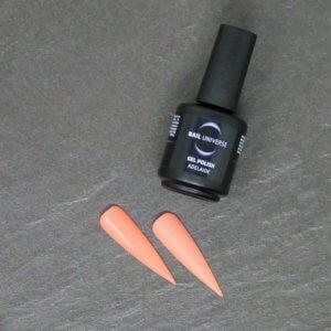 Gel Polish Adelaide. Eine schwarze Flasche liegt seitlich mit der Aufschrift Nail Universe Gel Polish. Im Vordergrund liegen zwei lackierte Nageltips.